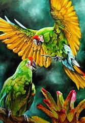 The colour green (ara militaris) (vera LP) Tags: green art birds animals painting groen kunst vogels schilderij oil macaw dieren papegaai olieverf