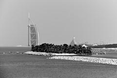 Jumeirah Beach Hotel and Burj Al Arab from Jumeirah Palm Island (rmartinsssz) Tags: travel brazil bw white black brasil nikon dubai united uae middleeast emirates arab unitedarabemirates 2011 d90 nikond90 emiradosarabesunidos nikond902011 rmartinsssz
