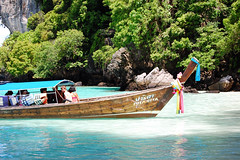 longtail boat on Monkey Beach (marin.tomic) Tags: ocean travel blue sea beach water asian thailand island monkey islands coast boat nikon asia southeastasia jungle thai tropical kohphiphi tropics longtailboat andaman d40
