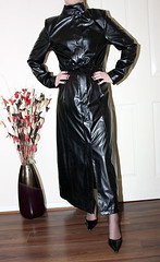 long faux leather mac (sheerglamour) Tags: leather fetish sissy satin pvc governess