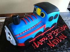 Thomas the train (Royalty_Cakes) Tags: california ca boy red building art cakes cake corner work cutout 3d los cool team downtown artist angeles awesome central creative off edible 7th royalty chino fondant buttercream thomasthetrain dst brickhome wwwroyaltycakes pablosiphone
