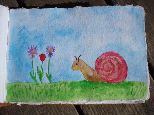 Snail Watercolor Sketch