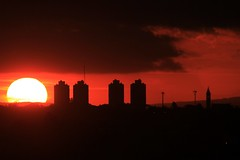 Great Ball Of Fire (guiceccatto) Tags: sunset pordosol brazil sky orange sun sol paran brasil clouds buildings cu curitiba nuvem prdios silhueta