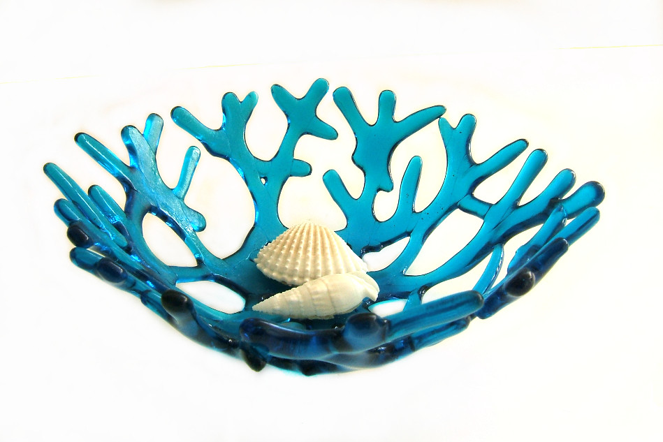 Deep Turquoise Aqua Blue Sea Coral Bowl ""