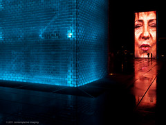 blue crown fountain (contemplative imaging) Tags: park city blue urban woman usa chicago fall fountain face female night digital america dark photography evening photo illinois midwest downtown image photos windy images millennium september il ill american crown imaging friday cookcounty 43 3x4 midwestern 2011 olye3 olysg918 contemplativeimaging ronzack 20110916 chi20110916