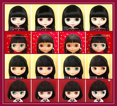 Neo Blythe Comparison:  B2 HOLiC (top row), Night Flower (NF/second row), Bow Wow Trad (BWT/third row) and Punkaholic People (PuPe/bottom row)