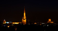Three Churches (jammo s) Tags: old city church skyline night dark cathedral tripod norfolk medieval spire nighttime norwich vista romanesque middleages floodlit finecity jammo norwichskyline canoneos60d medievalnorwich sigma1770os