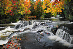"""Leaves on the Stream""  Bond Falls -  Paulding , Michigan by Michigan Nut"