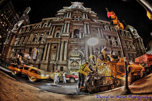 City Hall Philadelphia Night Shift- Blacktop Crew by Darryl W. Moran Photography