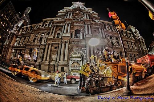 City Hall Philadelphia Night Shift- Blacktop Crew by Darryl W. Moran Photography