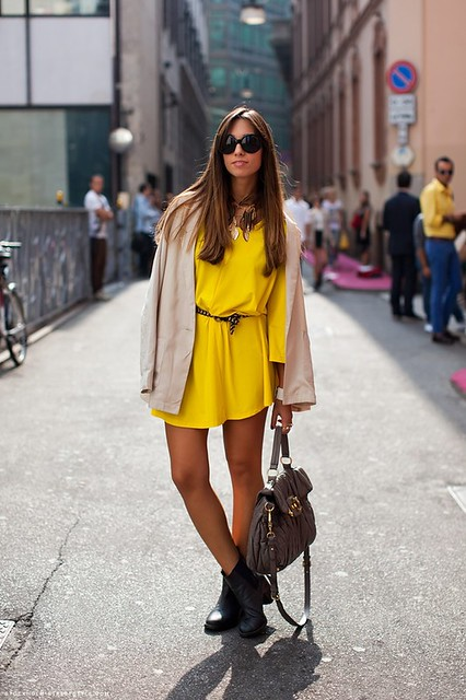 yellow dress with black boots