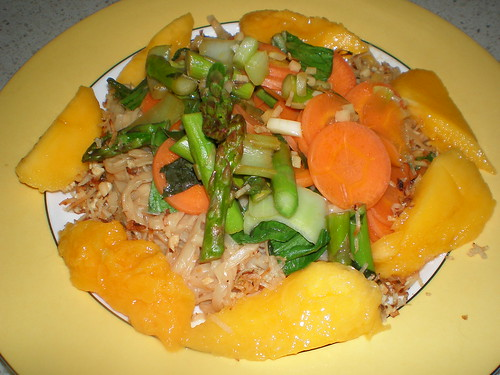 Indonesian Sambal; Rice Noodles with Thai Peanut Saucel Stir-Fried Vegetables; Mango Slices