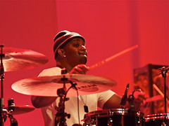 "Terence Higgins in red; Warren Haynes Band ""Man in Motion"" tour. (fantail media) Tags: music st paul four live micro adapter nikkor legacy f25 fitzgerald lenses thirds 105mm warrenhaynes m43 terencehiggins terencehigginsondrums warrenhaynesband aleciachakour olympusevfmanual terencehatestogethispicturetaken"