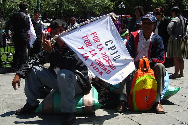 Protestor in Plaza Murillo, La Paz, Bolivia