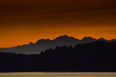 Fall evening Sunset looking out towards Olympic Mountain Range (BnGphotos) Tags: light sunset orange nature evening washington sunsets sound pugetsound olympics puget mukilteo nikond7000