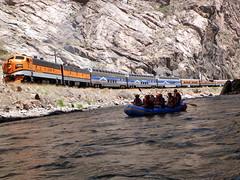 Rafting the Royal Gorge (sarowen) Tags: train colorado engine rafting trainengine whitewaterrafting royalgorge canoncity canoncitycolorado royalgorgerailroad royalgorgetrain royalgorgerailway