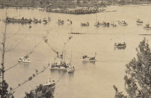 Boat race on the Swan River, Western Australia. 1923. (enlarged detail)