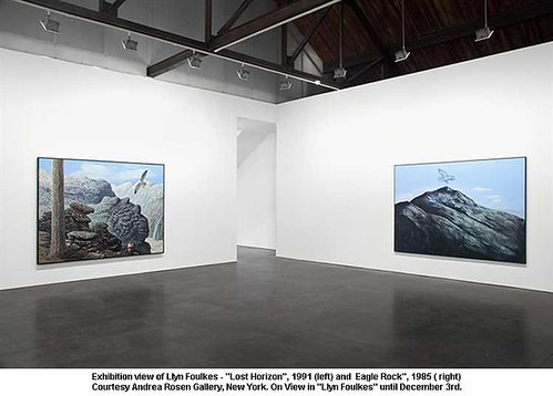 "Exhibition view of Llyn Foulkes - ""Lost Horizon"", 1991 (left) and  Eagle Rock"", 1985 (right) by artimageslibrary"