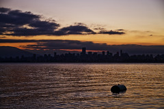 Vancouver Sunrise (J_Q_H) Tags: red sea orange canada english water vancouver clouds sunrise canon bay downtown skyscrapers towers barrel floating columbia 7d british
