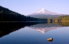 Mt. Hood Reflection (vswag) Tags: trees lake snow oregon forest trillium fishing niceshot trail mthood trout cascade cascademountains trilliumlake snowcap