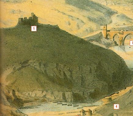Ermita de la Cabeza en ruinas en 1855. Detalle de un grabado de Alfred Guesdon