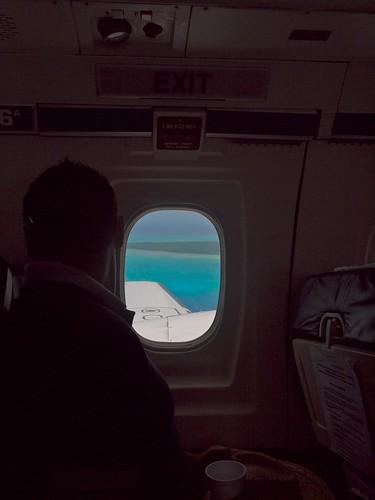 Aitutaki's lagoon from the plane