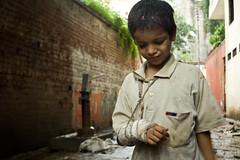 Near the Dark Goddess (Dario Ci) Tags: boy india rain temple kali religion divine varanasi flektogon