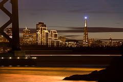 Night Life (AGrinberg) Tags: sanfrancisco bridge light night island movement pyramid trail baybridge transamerica yerbabuena nocturne 95884bbandta
