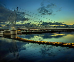 Media Bridge (Asim237) Tags: uk bridge blue sky night reflections manchester media cloudy bbc salford quays asim237