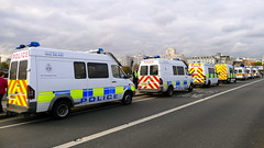 Police vans on Waterloo Bridge