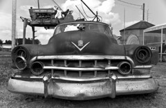 junk yard Caddy (hutchphotography2020) Tags: blackandwhite junk nikon rust monochromatic cadillac grill caddy flickraward