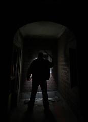 Lurker (Notkalvin) Tags: longexposure shadow silhouette michigan detroit basement le urbanexploration exploration urbex odc universityclub hardlight imglad mikekline michaelkline ourdailychallenge notkalvin didntseeshivaanywhere saturdaymorningwithfriends notkalvinphotography