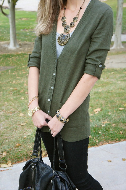 Old Navy green cardigan