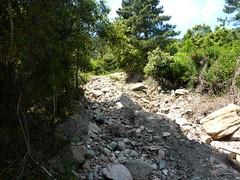 Montée du chemin de captage Nord du Mulinelle : la tranchée au bulldozer