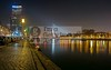 Panoramic view of the Bridge and the Tower (DolliaSH) Tags: city longexposure bridge light urban haven holland color water colors architecture night canon reflections river puente photography lights noche photo rotterdam europe foto nightshot photos nacht harbour nederland thenetherlands illuminated ponte most le 7d pont brug maas brücke nuit notte stad erasmusbrug noch zuidholland brucke erasmusbridge southholland 1755mm nachtopname manhattanaandemaas canonefs1755mmf28isusm canoneos7d maastoren maastower dolliash dolliasheombar
