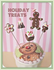 Holiday Treats pin toppers (Pinks & Needles (used to be Gigi & Big Red)) Tags: holiday glitter cherry miniature cookie chocolate stripes treats decoration gingerbread sparkle cupcake tiny sweets etsy gingerbreadhouse candycane teeny lollipops gingerbreadman inedible 2011 buttermint gigiminor pinksandneedles pintoppers buttermintgables