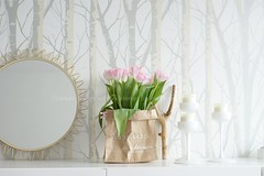 in bloom ~ (Iro {Ivy style33}) Tags: wallpaper white gold spring interiors tulips livingroom newhome ping candleholders paperbag wishbone interiors~styling~photography bydomesticstorieswithivy inbloom~ 50smirror naturemeetsglamour