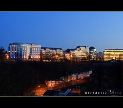 Luxembourg between past and future - Blue hour (lathuy) Tags: night europe long exposure shot capital grand exposition future bluehour capitale luxembourg past nuit ville vieille duchy grund longue avranches heurebleue duch