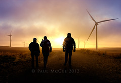 Turbine Sunset.jpg (PMMPhoto) Tags: road sunset people silhouette walking track wind farm silhouettes turbine windfarm turbines