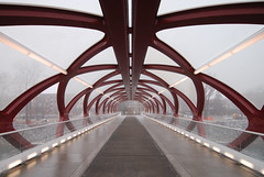 Peace Bridge (Incremental Photo) Tags: bridge calgary bike fog river peace pedestrian bow calatrava biking pathway bowriver santiagocalatrava peacebridge worldarchitecturenews