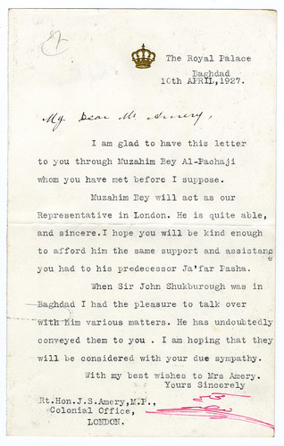 King Faisal of Iraq writes to Leo Amery, 1927