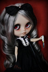 ~ Malice ~ (GBaby - super busyyyy) Tags: eye art girl dark doll hand handmade ooak painted goth knife evil chips translucent blythe custom happyhalloween 65 malice gbaby butsweet