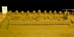 The Last Supper sand sculpture (ORIONSM) Tags: art spain sand jesus sandsculpture lastsupper disciples panasonicfs10