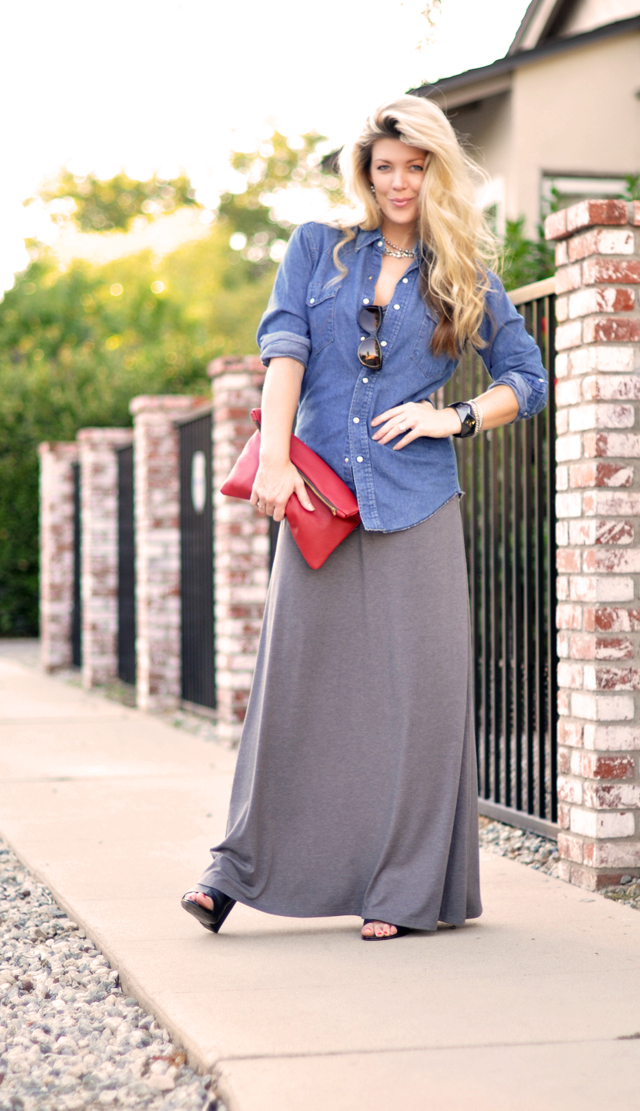 denim-maxi dress- waved hair-LA-red leather pouch bag-hair