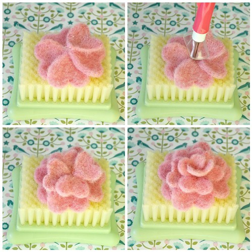 Needle felting roses steps 17-20