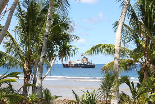 USCGC Walnut off the shore of Atafu in Tokelau.