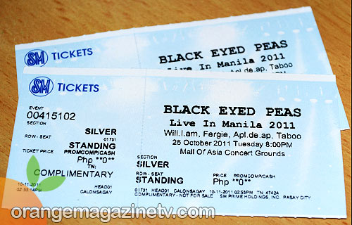 Win these Silver tickets to the Black Eyed Peas Live in Manila concert on October 25 from Orange Magazine TV