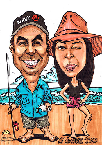 Couple caricatures fishing @ beach