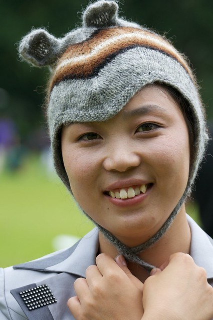 North Korean Guide Ms. Yu in Bunny Hat