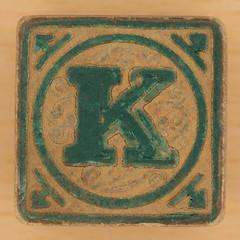 Vintage Wooden Block Letter K (Leo Reynolds) Tags: brick k canon eos iso100 letter block 60mm f80 kkk oneletter letterset 005sec 40d hpexif grouponeletter xsquarex xleol30x